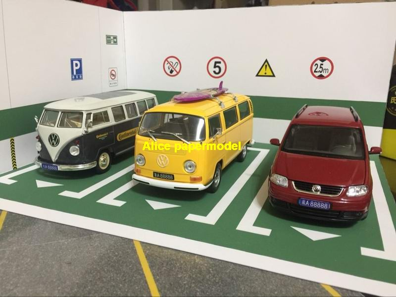 green underground garage parking lot spaces area car model scene background base platform models