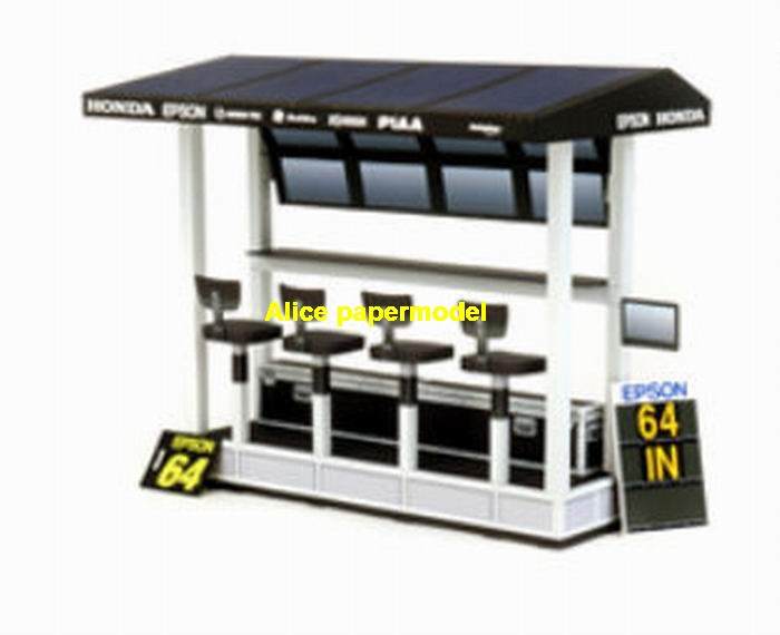 race track team pit parts parking garage lot area car model scene background base platform models AM1575