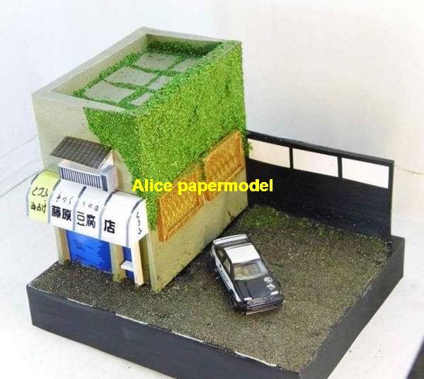 Initial D Fujiwara Tofu shop Hot Wheels tomica drift underground garage parking lot area car model scene background base platform models