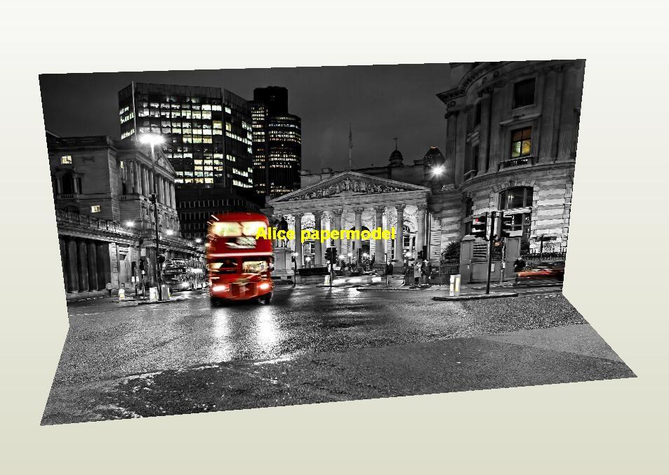UK London street Red double bus parking garage lot area car model scene background base models