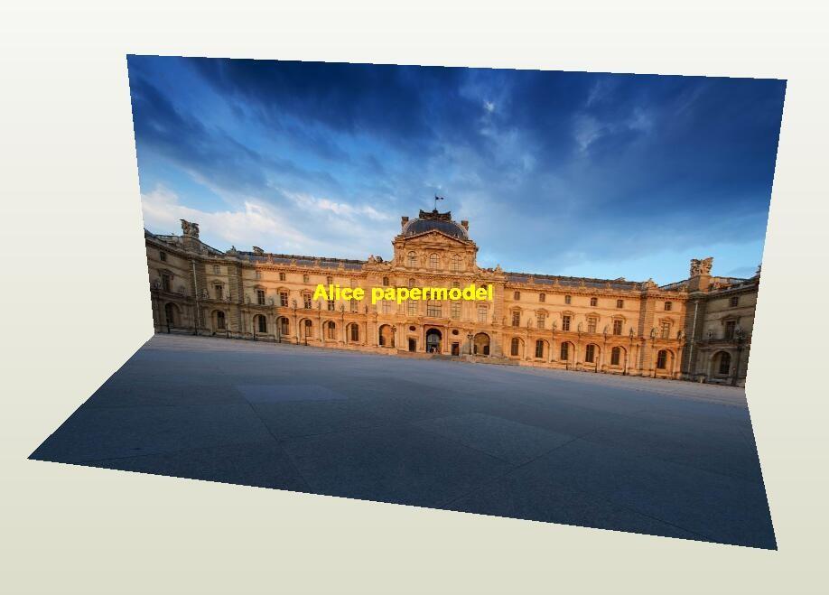 France Paris Louvre palace parking garage lot area car model scene background base models