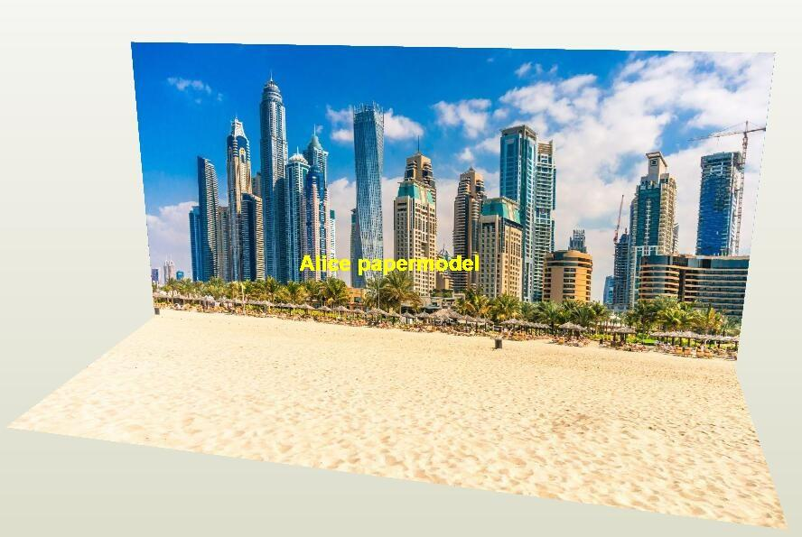 UAE Dubai Beach road street City building skyscraper parking garage lot area car model scene background base models