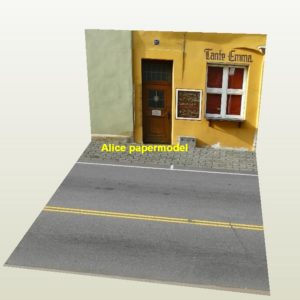 European city shop street scene house building underground garage parking lot area car model scene background platform base models