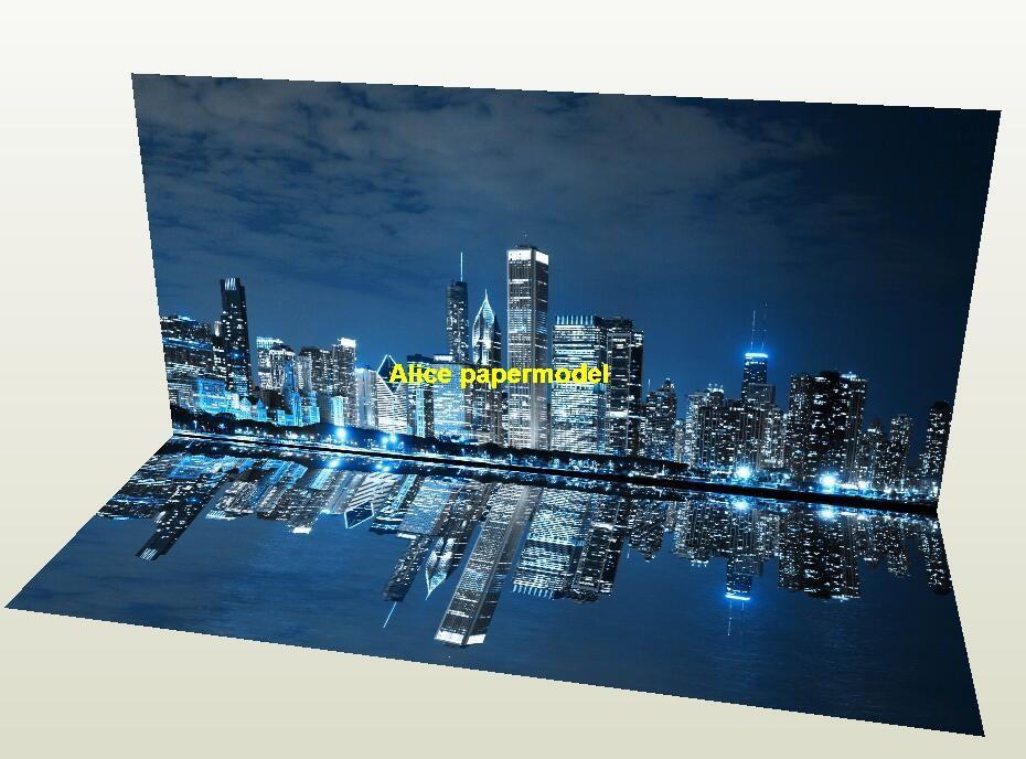 US Chicago night Harbor Skyscrapers garage parking lot area car model scene background base models
