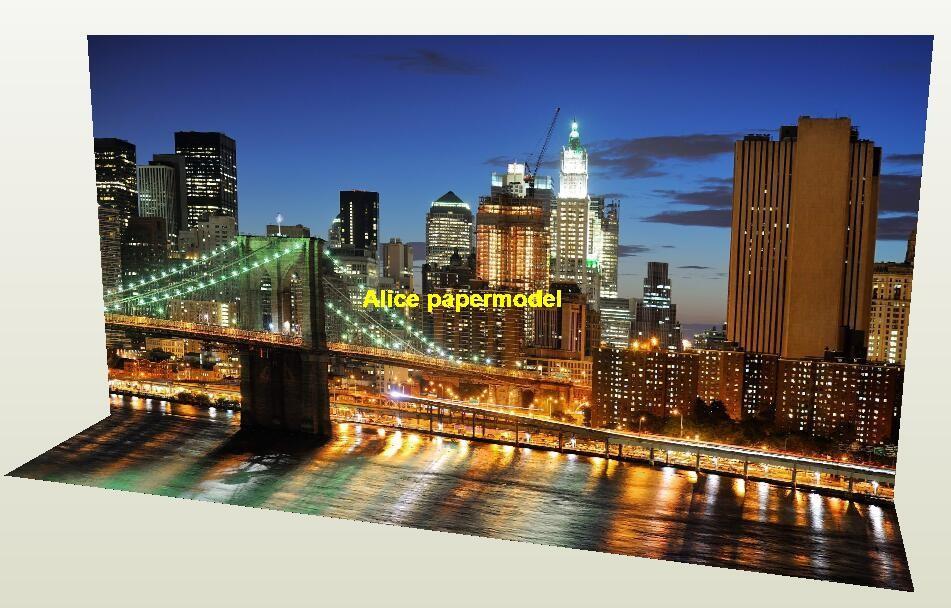 New York Brooklyn Bridge Night parking garage area car model scene background base models