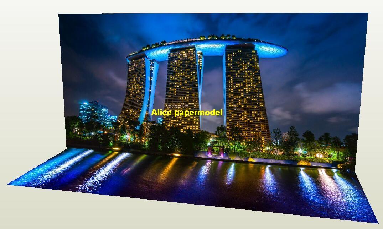 Singapore Sands Hotel Night natural scenery car model scene background base models