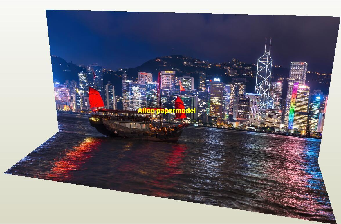 Hong Kong Victoria Harbor city river scenery parking garage car model scene base background models