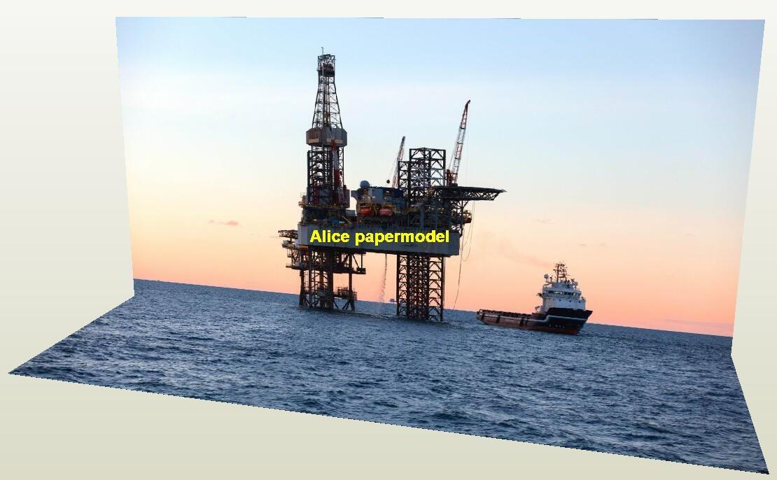 Offshore oil drilling platform Harbor city river scenery parking garage car model scene base background models