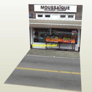 Fruit restaurant coffee city shop street scene house building underground garage parking lot area car model scene background base platform models