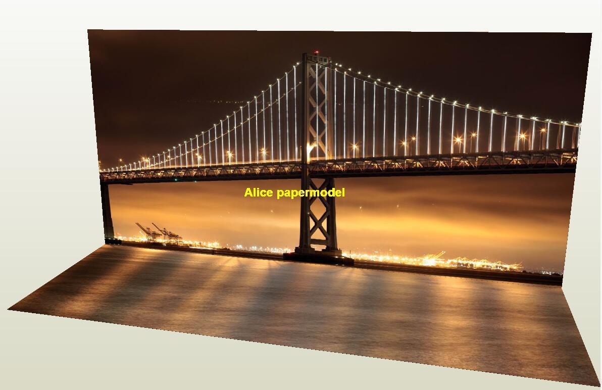 Stay cable sea bridge scenery parking garage car model scene background base models