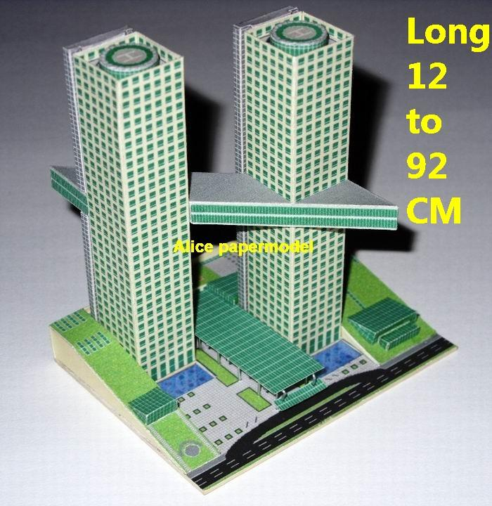 Future SCFI modern design twin tower skyscraper street city highrise tall High building city scene big large scale size model models kit on for sale store shop