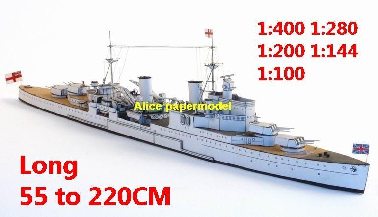 1:400 1:280 1:200 1:144 1:100 UK HMS sheffield missile destoryer battleship cruiser submarine fleet large scale size super big long frigate aircraft carrier military warship ship papercraft model models