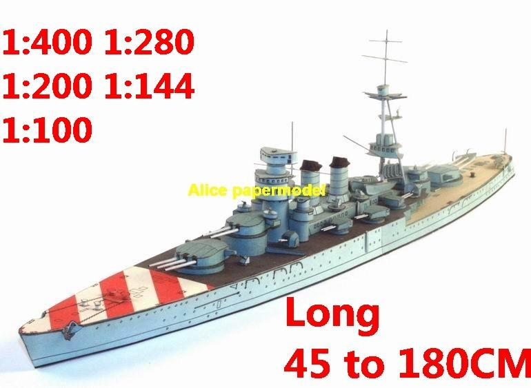 1:400 1:280 1:200 1:144 1:100 WWII Italy heavy cruiser Conte Di Cavour battleship submarine large scale size super big long missile frigate destoryer aircraft carrier military warship ship boat papercraft model models