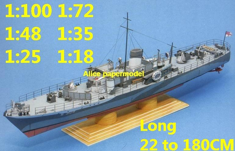 1:100 1:72 1:48 1:35 1:25 1:18 1:12 scale WWII UK HMS Grey Goose patrol boat Gunship destoryer battleship Cruiser landing aircraft carrier large scale size super big long missile military warship frigate ship paper model models