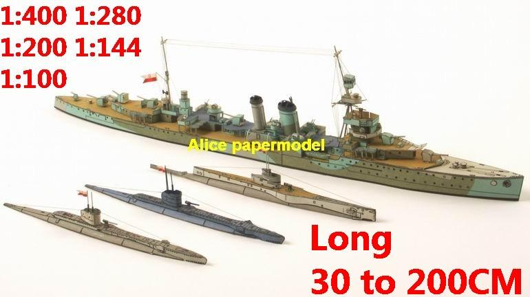 1:400 1:280 1:200 1:144 1:100 WWII heavy cruiser submarine fleet battleship destoryer large scale size super big long missile frigate aircraft carrier military warship boat ship papercraft models model