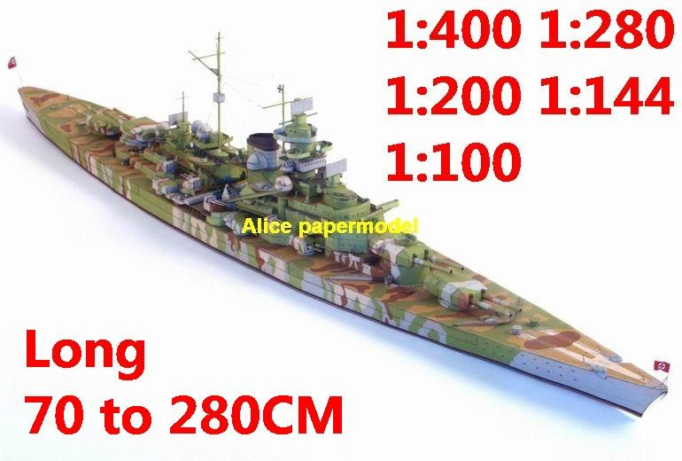 1:400 1:280 1:200 1:144 1:100 WWII German DKM Bismarck class Schlachtschiff Tirpitz battleship submarine large scale size super big long missile frigate destoryer aircraft carrier military warship boat ship papercraft model models