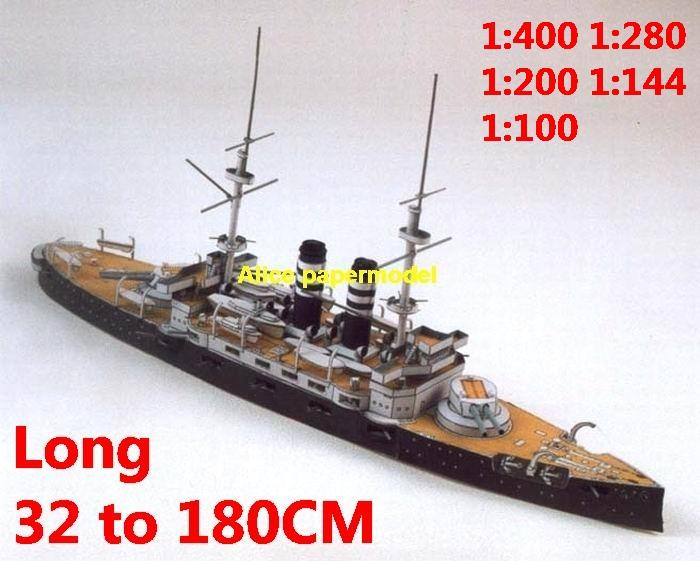 1:400 1:280 1:200 1:144 1:100 1:72 WWI Japan ironclad IJN Mikasa battleship heavy cruiser submarine large scale size super big long missile frigate destoryer aircraft carrier military warship boat ship papercraft model models