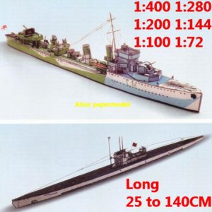 1:400 1:280 1:200 1:144 1:100 1:72 WWII US Escort destroyer German submarine uboat class submarine heavy cruiser battleship large scale size super big long missile frigate aircraft carrier military warship boat ship paper model models