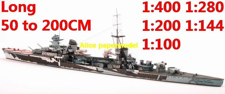 1:400 1:280 1:200 1:144 1:100 WWII Italy light cruiser MUZIO ATTENDOLO battleship submarine large scale size super big long missile frigate destoryer aircraft carrier military warship ship boat papercraft models model