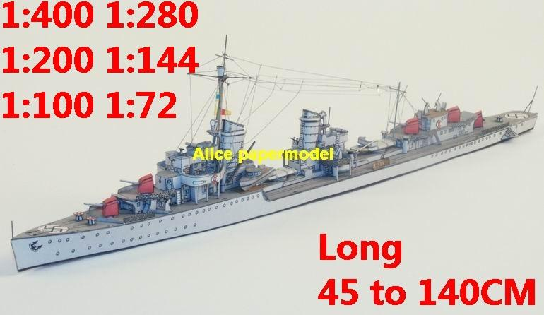 1:400 1:280 1:200 1:144 1:100 WWII German Z10 destoryer heavy cruiser battleship submarine large scale size super big long missile frigate aircraft carrier military warship boat ship papercraft models model