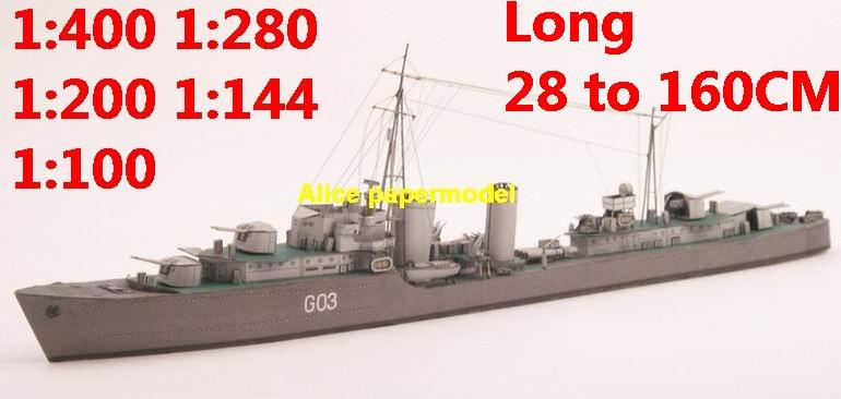 1:400 1:280 1:200 1:144 1:100 WWII UK HMS Lance Cossak class destoryer battleship heavy cruiser submarine large scale size super big long missile frigate aircraft carrier military warship boat ship paper model models