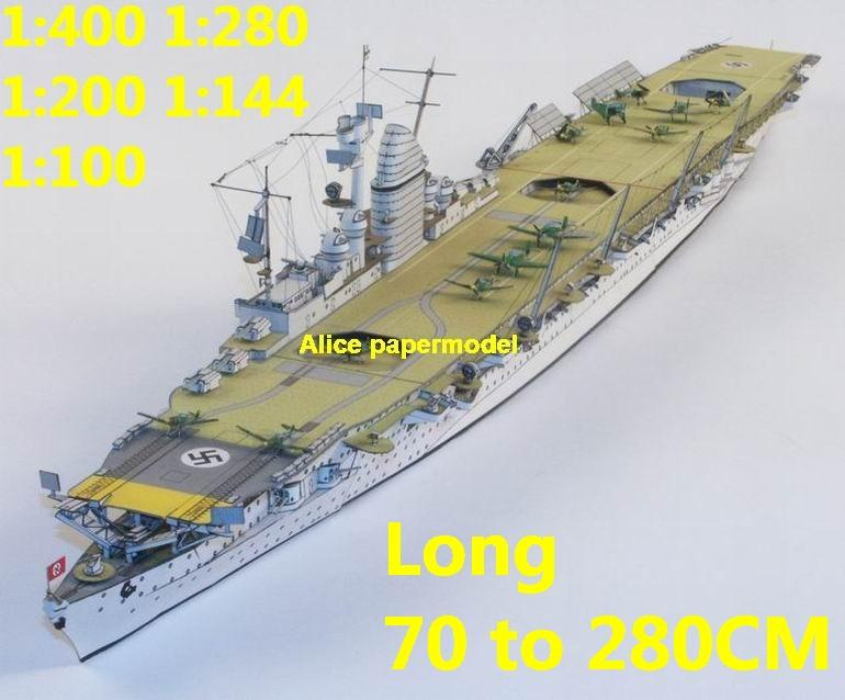 1:400 1:280 1:200 1:144 1:100 WWII German aircraft carrier DKM Graf Zeppelin landing large scale size super big long submarine battleship missile frigate destoryer military warship ship papercraft model models
