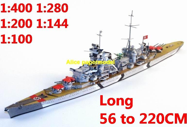 1:400 1:280 1:200 1:144 1:100 WWII German DKM heavy cruiser Prinz Eugen battleship submarine large scale size super big long missile frigate destoryer aircraft carrier military warship boat ship papercraft models model