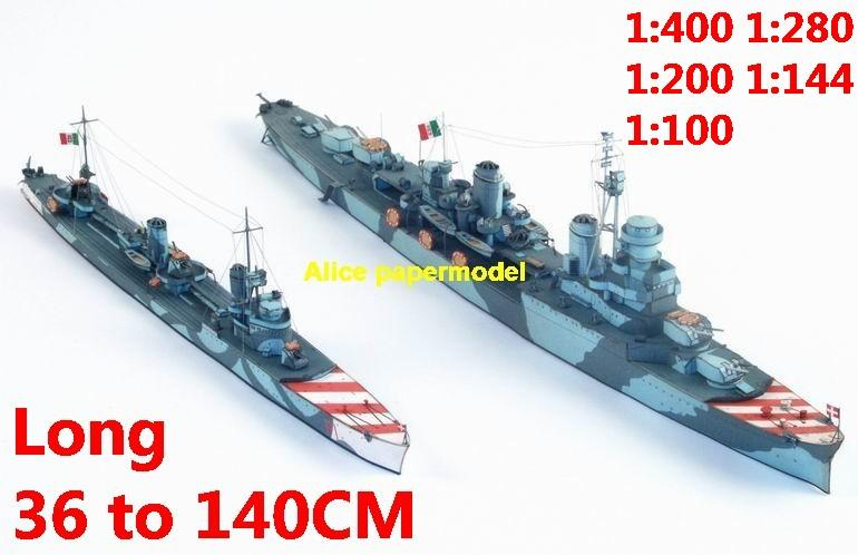 1:400 1:280 1:200 1:144 1:100 WWII Italy heavy cruiser RN Scipione Africano Pigafetta battleship submarine large scale size super big long missile frigate destoryer aircraft carrier military warship boat ship papercraft model models