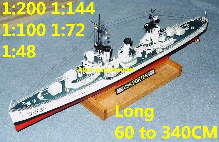 WWII US USS Porter destoryer landing craft large scale size super big long battleship submarine Modern Guided missile frigate aircraft carrier passenger liner Ship Ferry tugboat military warship ship paper models