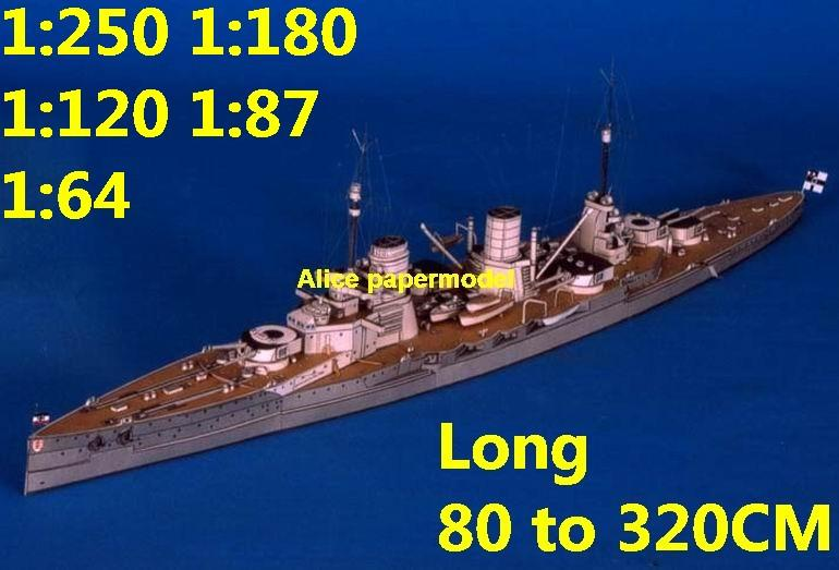 1:250 1:180 1:120 1:87 1:72 1:64 WWI SMS SEYDLITZ battleship submarine large scale size super big long missile frigate destoryer aircraft carrier military warship boat ship paper model models
