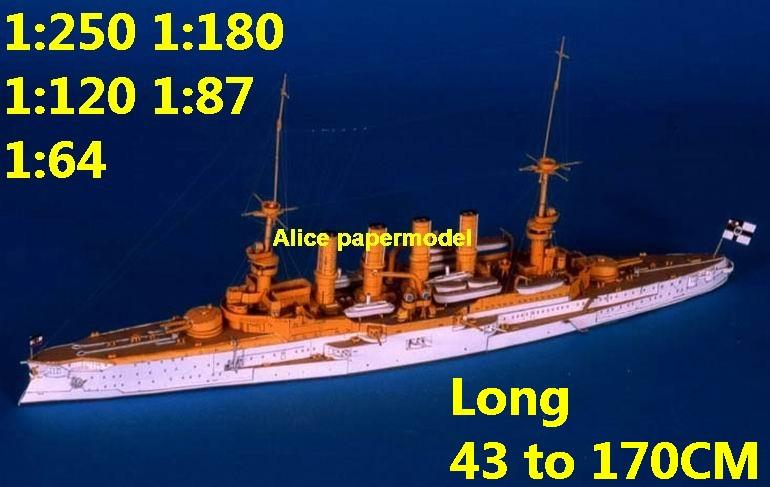 1:250 1:180 1:120 1:87 1:72 1:64 WWI SMS SCHARNHORST battleship submarine large scale size super big long missile frigate destoryer aircraft carrier military warship boat ship paper model models