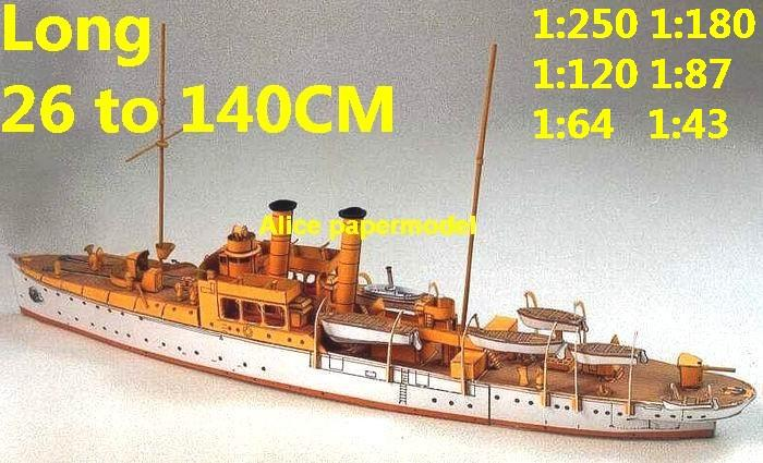 1:250 1:180 1:120 1:87 1:72 1:64 WWI German SMS Panther Torpedo boat battleship submarine large scale size super big long missile frigate destoryer aircraft carrier military warship ship papercraft model models