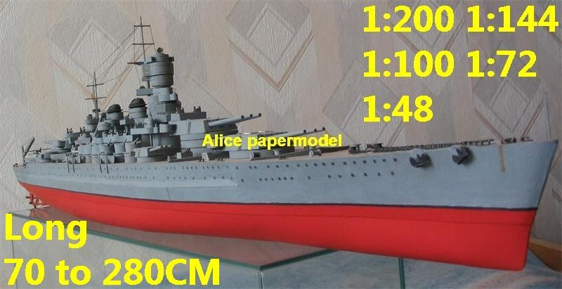 [Alice papermodel]1:300 1:200 1:144 1:100 1:72 WWII Italy Vittorio Veneto  class battleship Cruiser landing aircraft carrier large scale size super  big