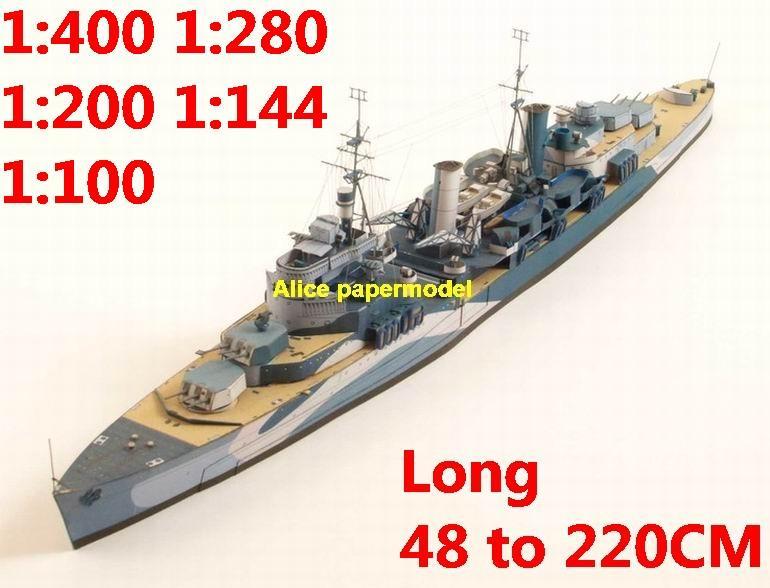 1:400 1:280 1:200 1:144 1:100 WWII UK HMS Belfast battleship heavy cruiser submarine large scale size super big long missile frigate destoryer aircraft carrier military warship boat ship paper models model
