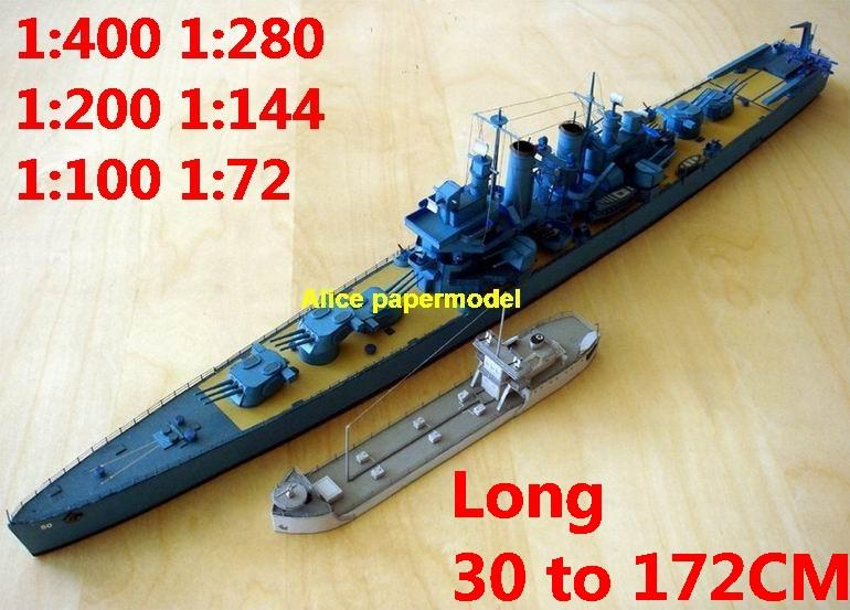 1:400 1:280 1:200 1:144 1:100 WWII US light cruiser HELENA destoryer  submarine torpedo boat fleet battleship large scale size super big long  missile
