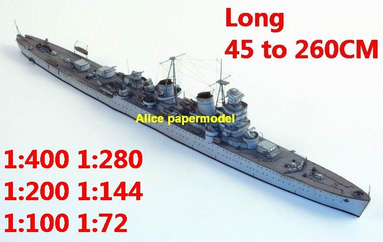1:400 1:280 1:200 1:144 1:100 WWII Swedish cruiser Tre Kronor destoryer torpedo boat submarine battleship large scale size super big long missile frigate aircraft carrier military warship ship papercraft model models