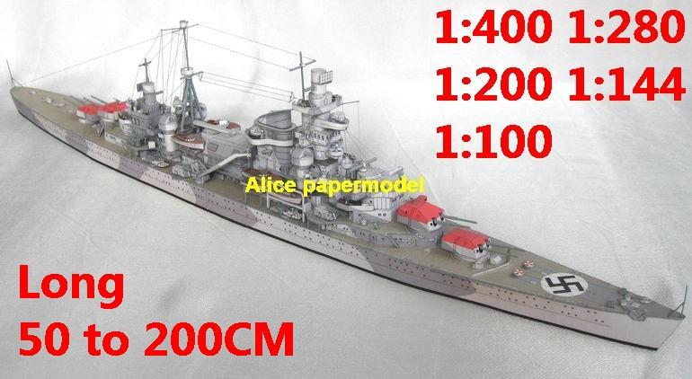 1:400 1:280 1:200 1:144 1:100 WWII German DKM heavy cruiser ADMIRAL HIPPER battleship submarine large scale size super big long missile frigate destoryer aircraft carrier military warship boat ship paper model models
