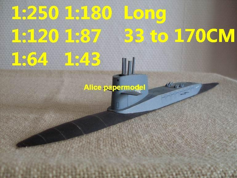 1:250 1:180 1:120 1:87 1:72 1:64 US submarine USS Polaris Class Abraham Lincoln large scale size super big long missile frigate destoryer aircraft carrier military warship ship papercraft models model