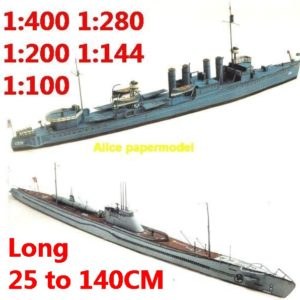 1:400 1:280 1:200 1:144 1:100 WWII US USS Ward IJN I-16 class submarine heavy cruiser destoryer battleship large scale size super big long missile frigate aircraft carrier military warship boat ship paper model models