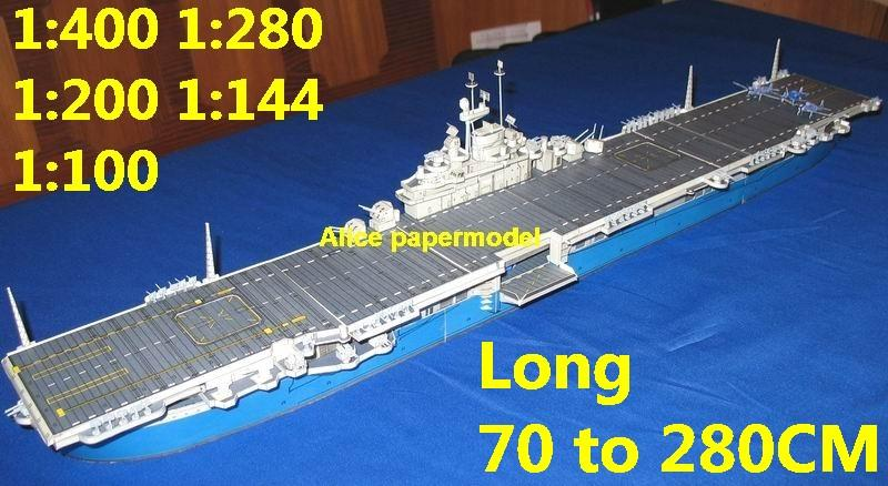 1:400 1:280 1:200 1:144 1:100 WWII US CV11 Intrepid Escort aircraft carrier landing large scale size super big long submarine battleship Modern Guided missile frigate destoryer military warship ship paper model models