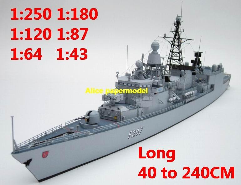 1:250 1:180 1:120 1:87 1:72 1:64 German Germany missile frigate destoryer Fregatte Bremen Torpedo battleship submarine large scale size super big long aircraft carrier military warship boat ship papercraft model models