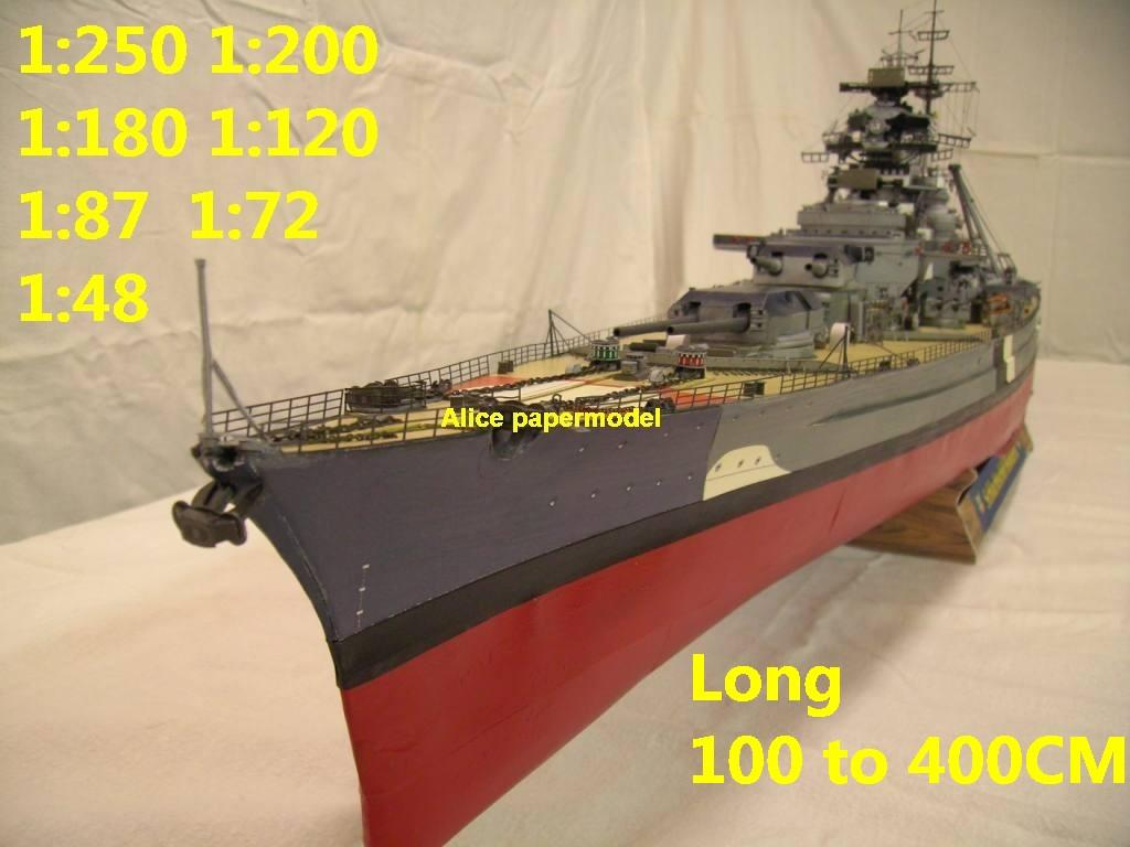 WWII German Bismarck class battleship landing ship aircraft carrier craft large scale size super big long submarine Modern Guided missile frigate destoryer passenger liner Ferry tugboat military warship ship paper models