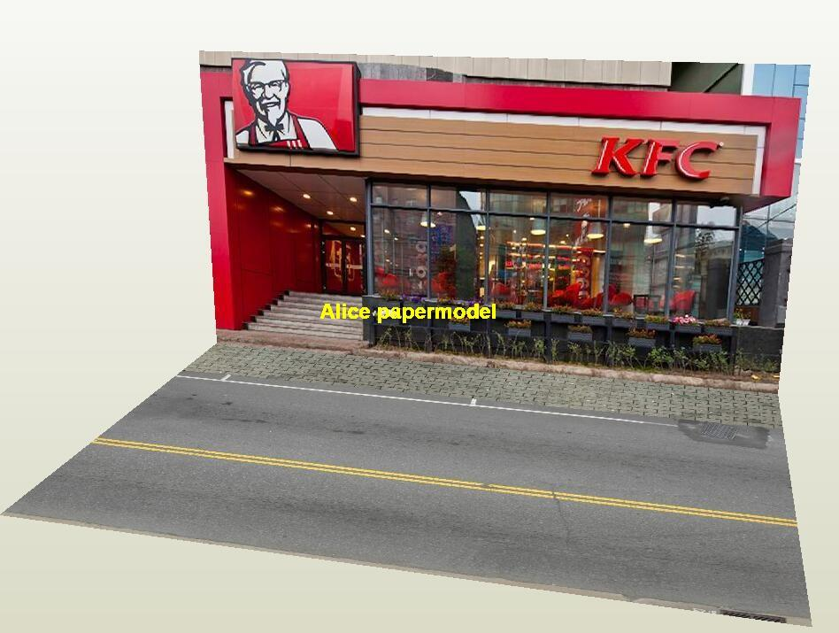 1:64 1:43 1:32 1:24 1:18 scale KFC pizza hut fastfood city shop street scene doll Military Soldiers house building underground garage parking car model scene background base models