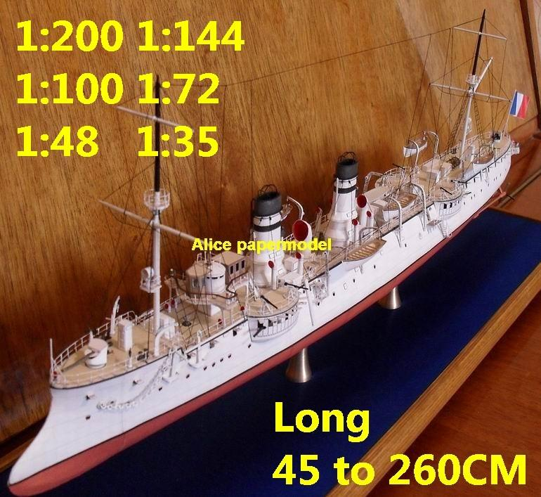 [Alice papermodel]1:200 1:144 1:100 1:72 1:48 WWI France Lavoiser heavy  Cruiser battleship aircraft carrier landing large scale size super big long