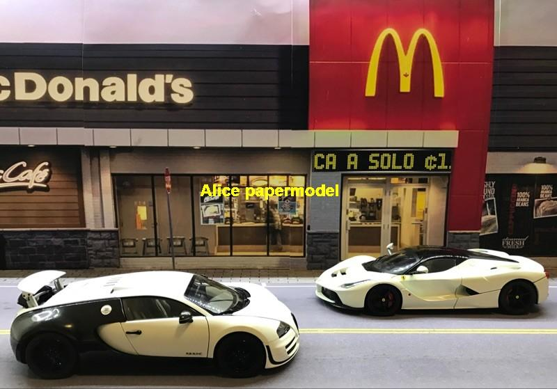 1:64 1:43 1:32 1:24 1:18 1:12 scale McDonald's MacDonald Kentucky KFC restaurant snack bar city shop street scene parking garage house building doll Military Soldiers car model scene background base platform models