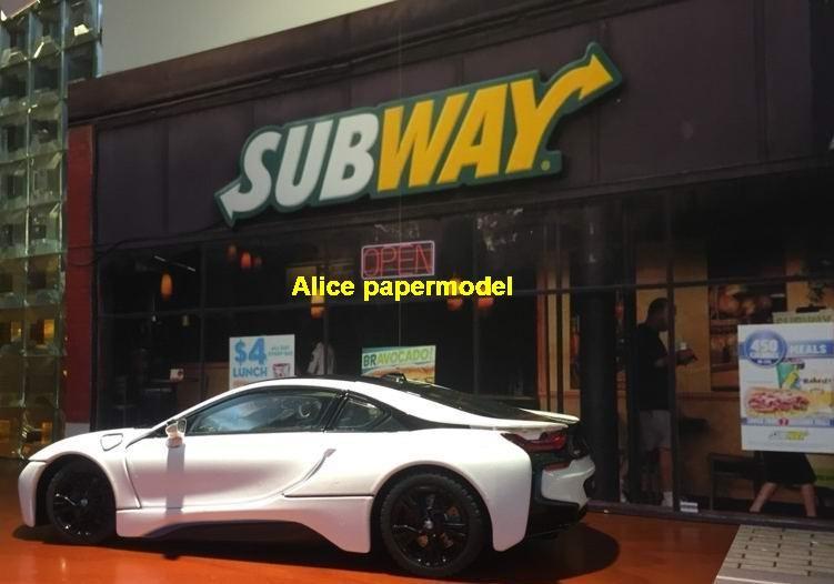 1:64 1:43 1:32 1:24 1:18 scale Subway hotdog fast food door parking garage lot area Military Soldiers Barbie doll car model scene background base platform models