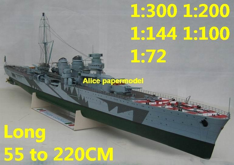 1:200 1:144 1:100 1:72 1:48 WWII Italy Light Cruiser Rm Giuseppe Garibaldi destoryer battleship landing aircraft carrier large scale size super big long submarine missile frigate military warship ship models model