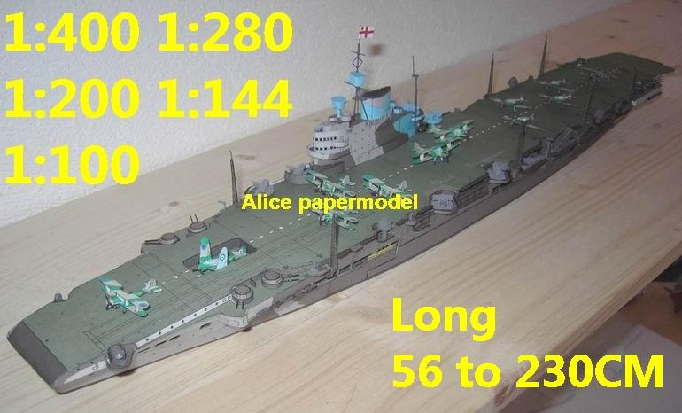 1:400 1:280 1:200 1:144 1:100 WWII UK Victorious aircraft carrier landing large scale size super big long submarine battleship Modern Guided missile frigate destoryer military warship ship paper models model