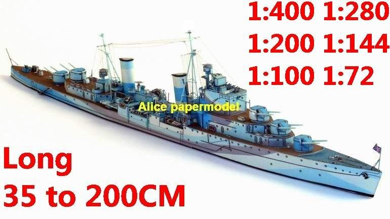 1:400 1:280 1:200 1:144 1:100 WWII UK HMS Sirius light Cruiser battleship submarine large scale size super big long missile frigate destoryer aircraft carrier military warship boat ship paper model models