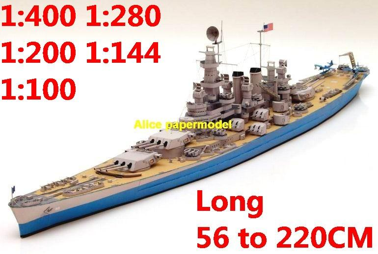 1:400 1:280 1:200 1:144 1:100 WWII US BB-55 USS North Carolina battleship submarine large scale size super big long missile frigate destoryer aircraft carrier military warship boat ship paper model models